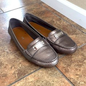 Coach Fredrica silver pewter leather loafers 7
